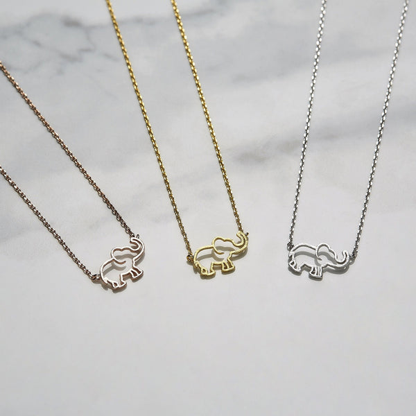 Line elephant necklace
