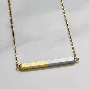 Two tone straight square necklace