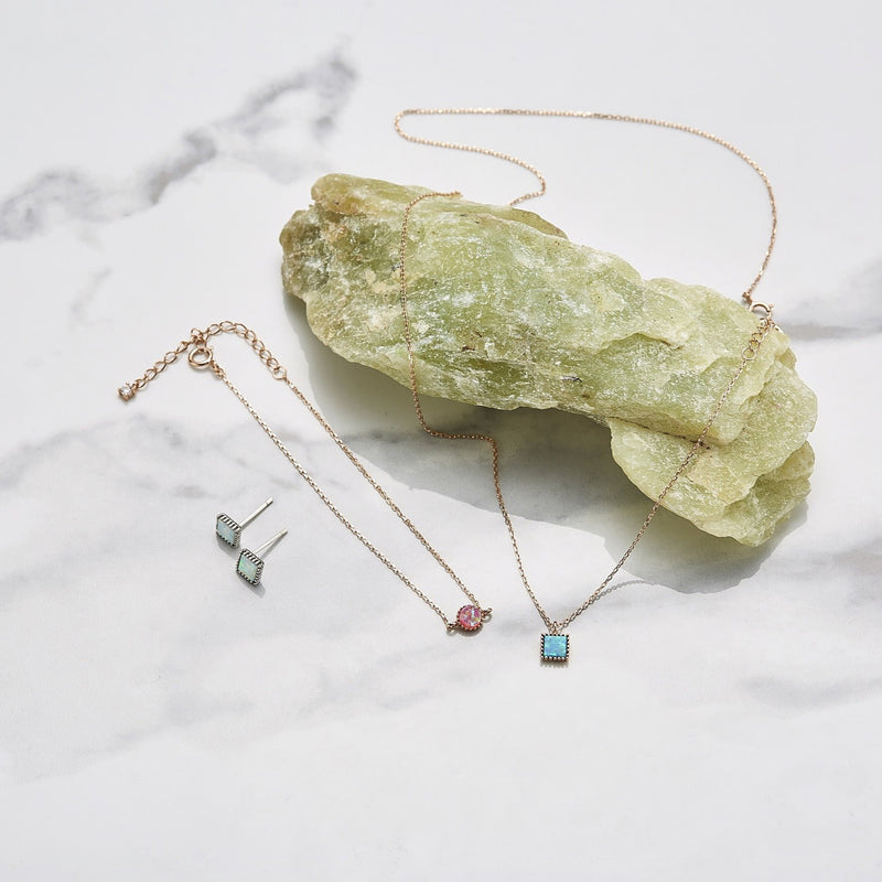 opal geo earrings