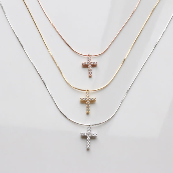 Cross pendant silk necklace