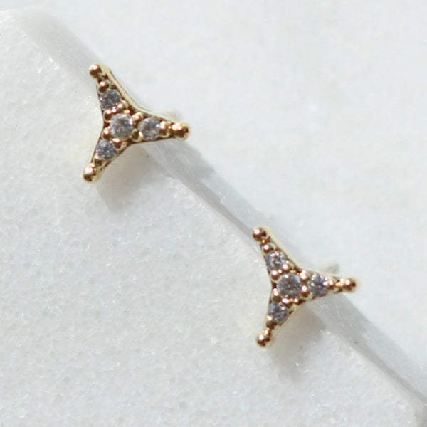 three pointed cubic earrings