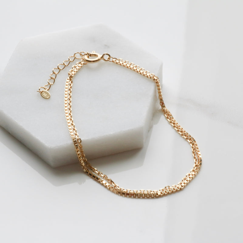 Two lines layered bracelet_square