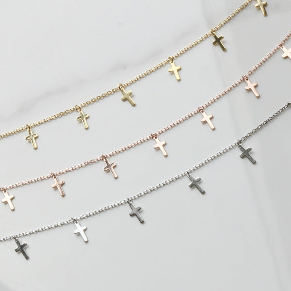 Cross drop necklace - NABILONDON