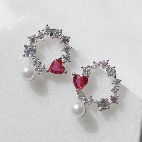 Pink heart pearl dangle earrings