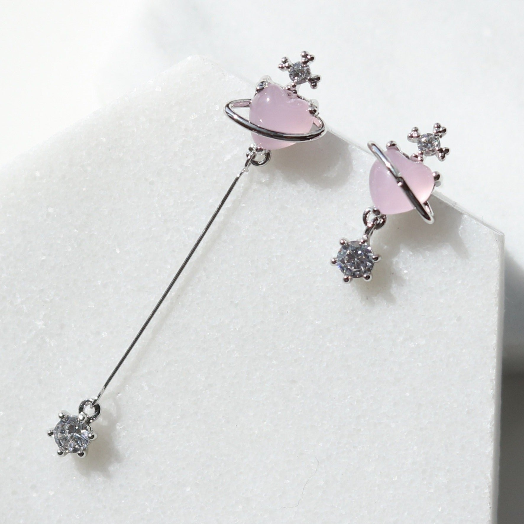 Pink heart cabochon drop earrings