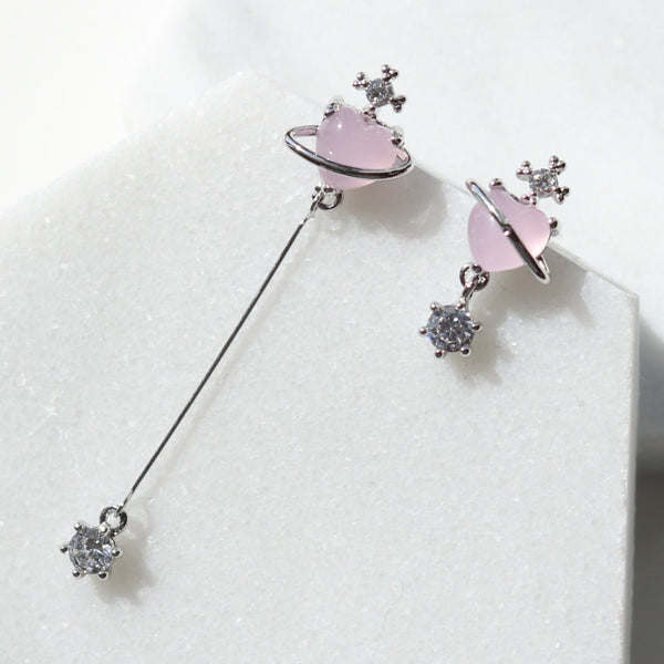 Pink heart unmatched earrings