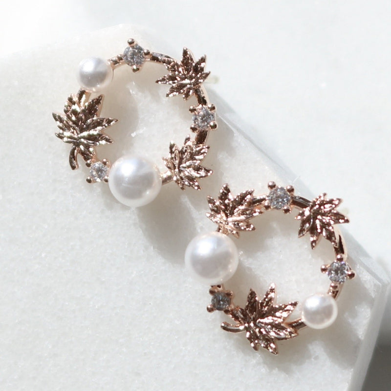 Pearl laurel earrings