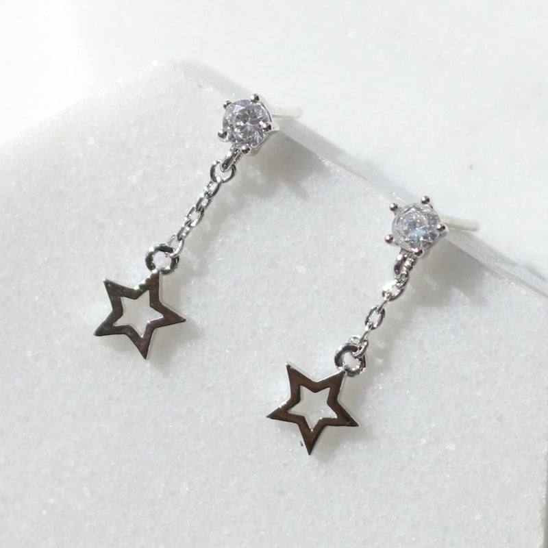 Cubic star drop earrings