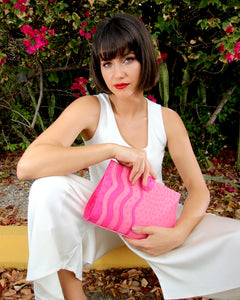 Genuine Real Ostrich Bag Clutch Pink Yara Bashoor