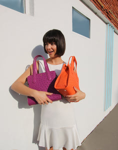 Genuine Ostrich Bag Tote Purple Orange Yara Bashoor