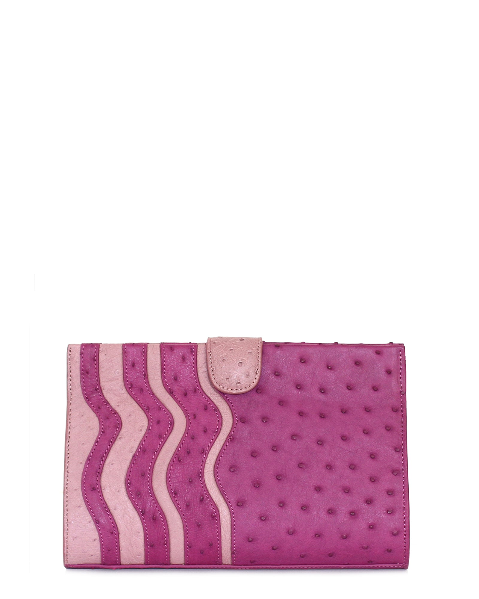 Joey Clutch Ostrich Purple & Lavender Wavy Trims Yara Bashoor YB Front (same as back) View Comes with Shoulder Chain
