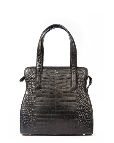 Yara Bashoor YB ADAM S TOTE Curvy Coca Cola Bottle Shape Matte Black Genuine American Alligator Front View