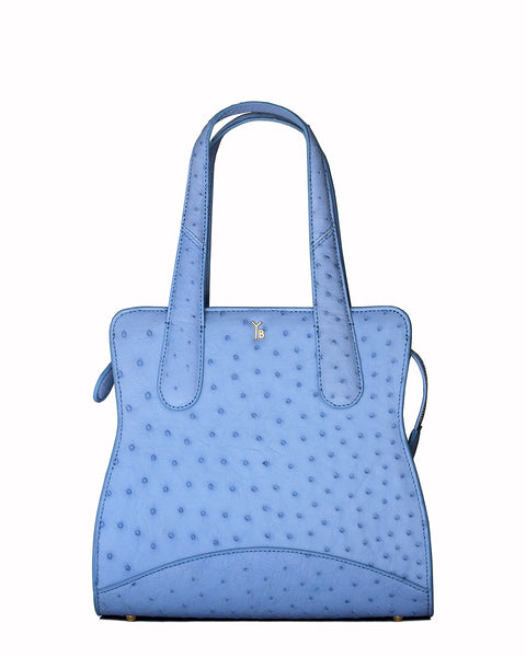 Sky Cool Blue Ostrich Genuine Sustainable Adam Small Tote Yara Bashoor Front Image