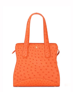 True Orange Ostrich Genuine Sustainable Adam Small Tote Yara Bashoor Front Image