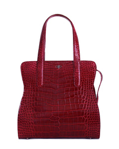 Genuine Real American Alligator Crocodile Dark Burgundy Bag Tote Top Zipper Closure Yara Bashoor Front View