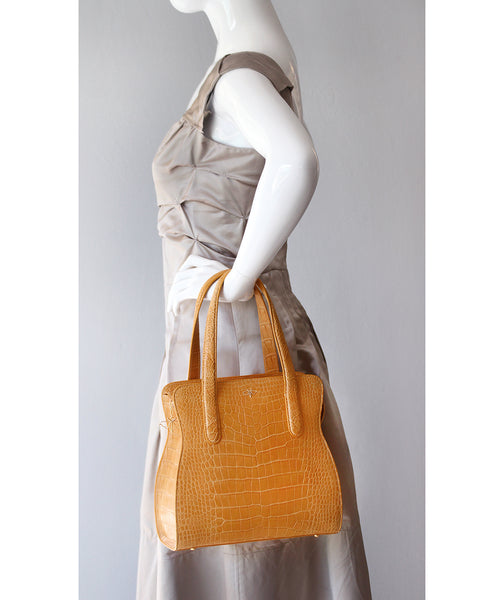 Genuine American Alligator Crocodile Bag Tote Buttercup Honey Color