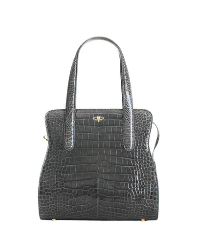 Charcoal grey alligator tote YB Adam front view
