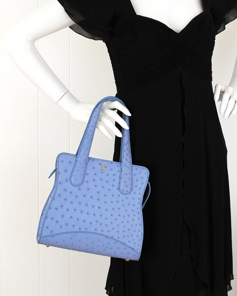 Sky Cool Blue Ostrich Genuine Sustainable Adam Small Tote Yara Bashoor on Mannequin