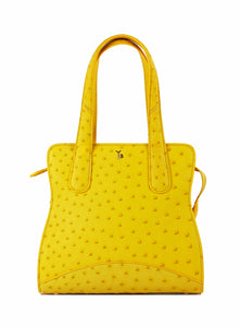 Yellow Real Genuine Ostrich Tote Front Yara Bashoor