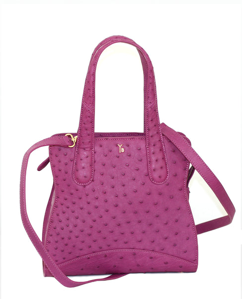 The prettiest shade of Purple or Violet Ostrich Genuine Sustainable Adam Small Tote Yara Bashoor with Long Strap
