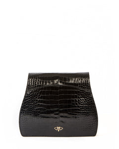 YB Benny Shoulder Handbag Shiny Black Back Outside Moth Logo