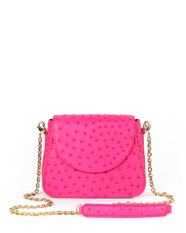 Hot Pink Fuchsia Ostrich Genuine Sustainable Crossbody Handbag Yara Bashoor Front Image Gold Long Chain Padded Shoulder Piece
