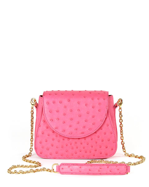 True Pink Ostrich Genuine Sustainable Crossbody Handbag Yara Bashoor Front Image
