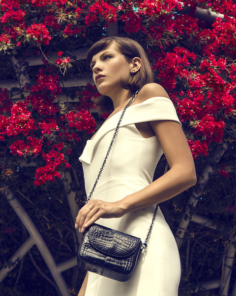 YB Classic Little Crossbody called the Harold Black Alligator Model with Bougainville