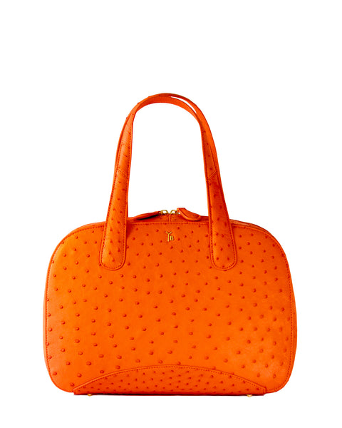 True Orange Ostrich Genuine Sustainable Large Charles Tote Yara Bashoor Front Image YB Logo