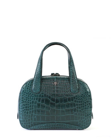 Deep Green Genuine Alligator YB Charles Tote Bag Crocodile Handbag Front
