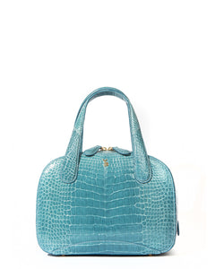 Genuine American Alligator Sky Blue Pristine Front View Charles S Tote Style