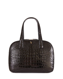 Black American Alligator Croco Bag Tote Shiny Glazed Front