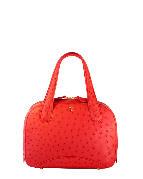 Bright Tomato Red colored Ostrich Genuine Sustainable Small Tote Style Charles by Yara Bashoor Front Image