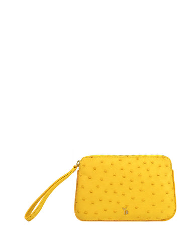 Ostrich Genuine Pouch with Wrislet Yellow Yara Bashoor
