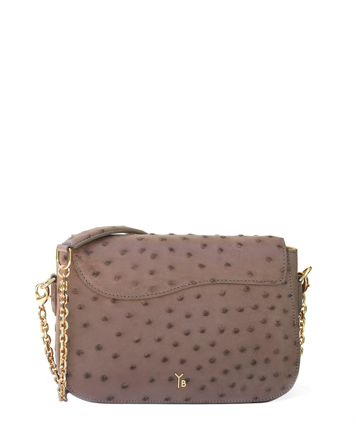 Back View of the Edgar Crossbody Shoulder Bag in Light Brown Ostrich with Gold Chain