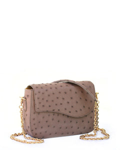 Front Angle View Crossbody The Edgar Light Brown Ostrich Gold Long Chain with Ostrich Shoulder Pad