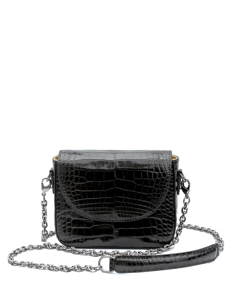 Genuine American Alligator Crocodile Crossbody Classic Shiny Black Exclusive