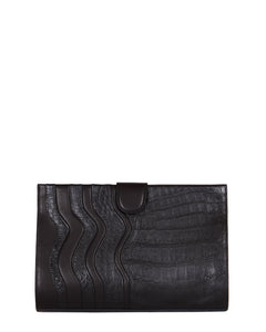 The JOEY L CLUTCH Genuine American Alligator - Black on Black