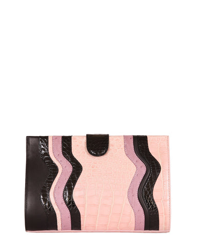 The JOEY L CLUTCH Genuine Ostrich - Pinks & Black