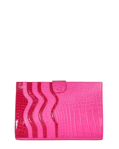 The JOEY L CLUTCH Genuine American Alligator - Pinks