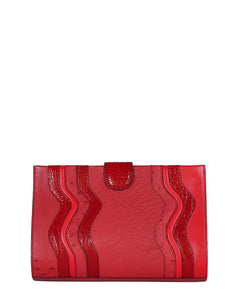 The JOEY L CLUTCH Genuine Ostrich - Red