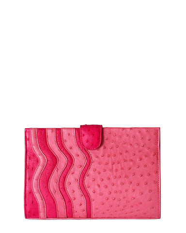 Joey Clutch Ostrich True Pink & Fuchsia Wavy Trims Yara Bashoor YB Front (same as back) View Comes with Shoulder Chain