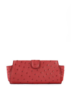 Genuine Ostrich Clutch Cranberry