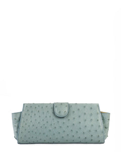 Genuine Ostrich Clutch Light Blue
