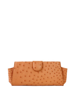 Genuine Ostrich Clutch Peach