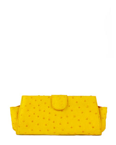 Genuine Ostrich Bag Clutch Small Yellow
