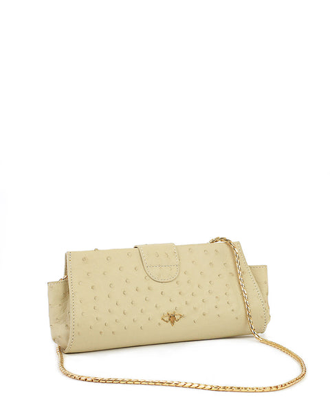 Genuine Ostrich Clutch Cream
