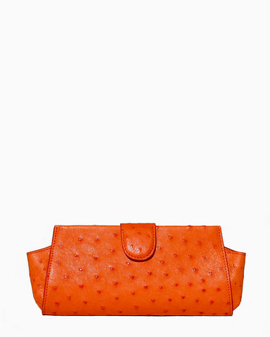 Genuine Ostrich Clutch Bag in Orange (Hermes color)