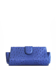 The LOUI XS CLUTCH - Genuine Ostrich - Blue
