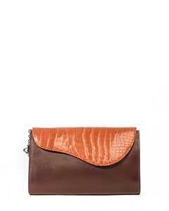 The OSCAR Clutch - Maple Genuine Alligator & Brown Lambskin
